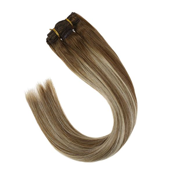 Clip in Balayage Light Brown Mixed Blonde Highlights Hair Extensions #8/22/8