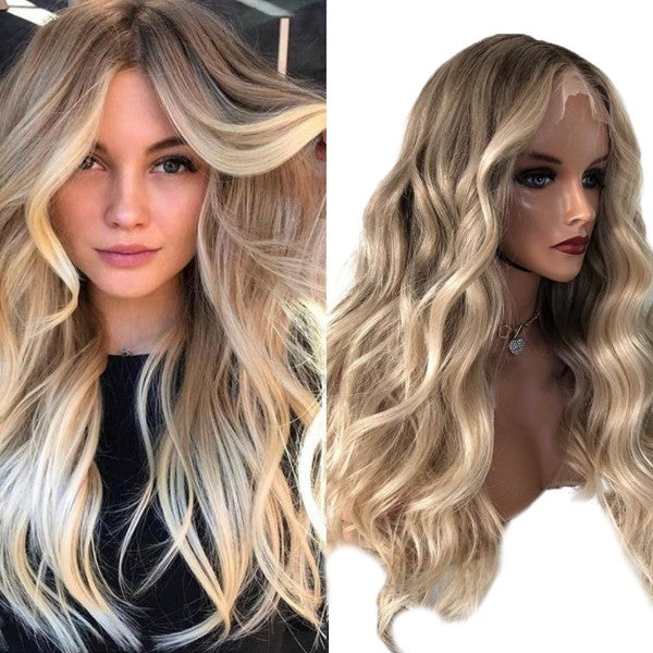 Lace Front Human Hair Wigs with Baby Hair Balayage Blonde #8a/60