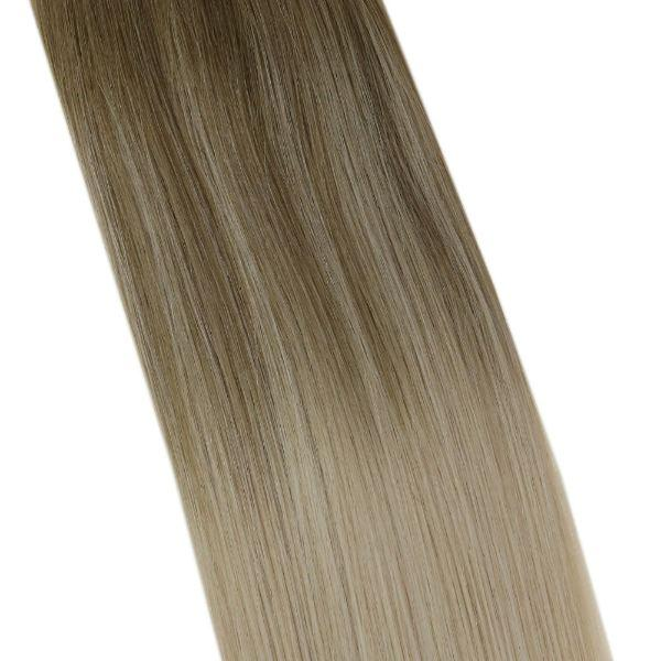 Balayage Sew in Weft Human Hair Extensions Light Brown Ombre to Lightest Blonde #8a/60