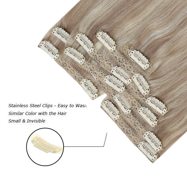 double weft clip in human hair