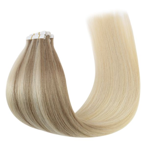 invisible skin weft tape in human hair blonde