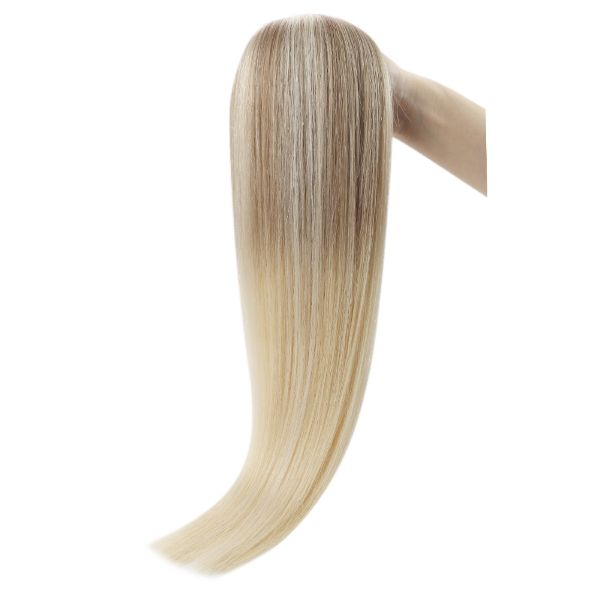 invisible skin weft tape in human hair balayage blonde
