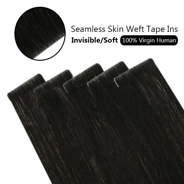 black invisible hair tape extensions