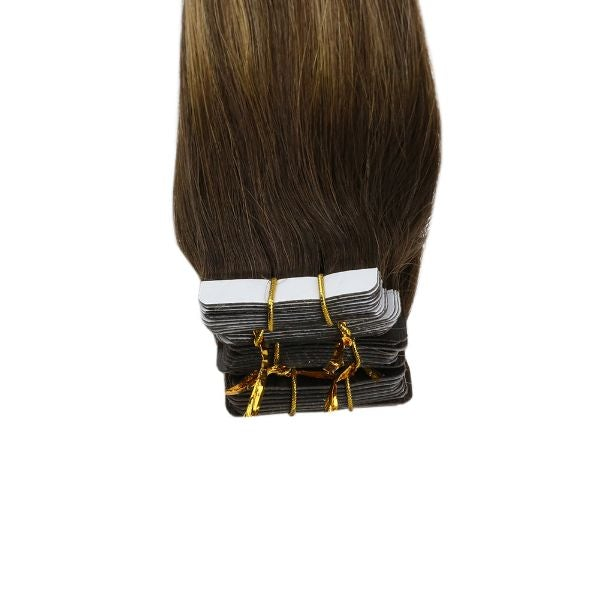 Tape in Balayage Brown Highlighted Caramel Blonde Human Hair Extensions #4/27/4