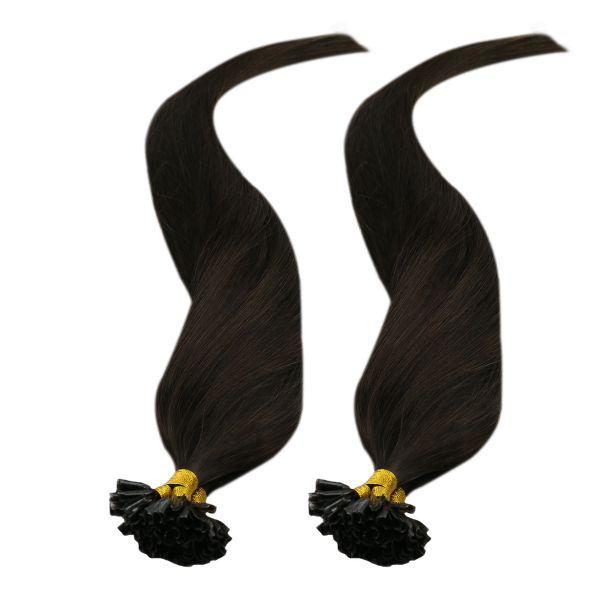 Virgin Hair Keratin U Tip Human Hair Extensions #2 Darkest Brown 25g/pack