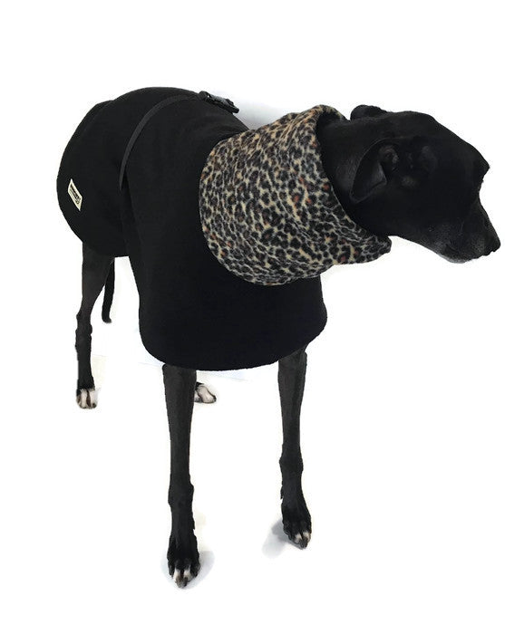 Greyhound Deluxe Dog coat dog rug, double polar fleece black washable extra wide hoodie