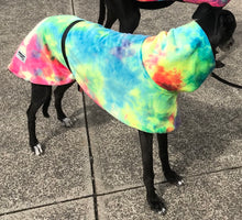 Greyhound Deluxe Dog coat rug rainbow minky polar fleece washable extra wide neck hoodie