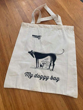 Calico tote bag book bag shopping bag greyhound doggy bag Christmas Santa gift