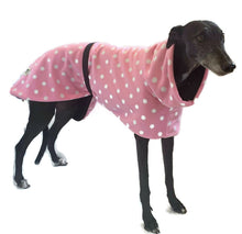 Greyhound Deluxe Dog coat dog rug, double polar fleece Pretty in pink extra wide hoodie