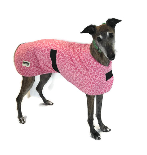 Greyhound pink leopard print coat double fleece washable