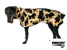 Opulence for your Greyhound  in deluxe style with huge collar in faux fur cow print & fleece washable