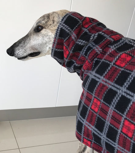 Greyhound Deluxe Dog coat rug luxury black tartan polar fleece washable extra wide neck hoodie