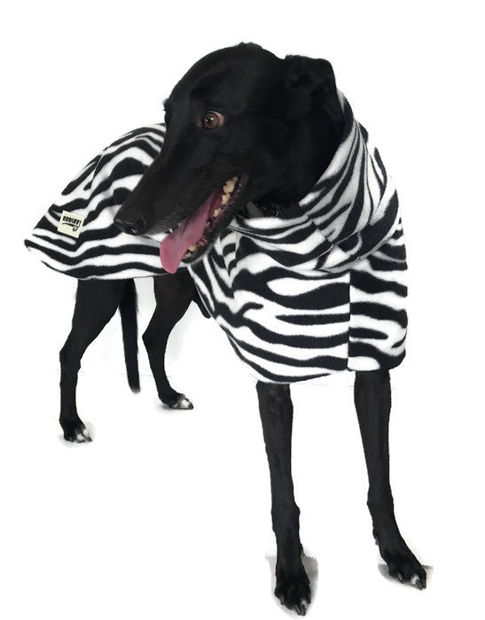 Greyhound Deluxe Dog coat dog rug, double polar fleece zebra print washable extra wide hoodie