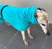 Greyhound Deluxe Dog coat dog rug, double polar fleece aquamarine washable extra wide hoodie