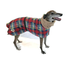 Greyhound Deluxe Dog coat dog rug, double polar fleece winter tartan  washable extra wide hoodie