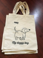 Calico tote bag book bag Christmas gift shopping bag dachshund puppy doggy
