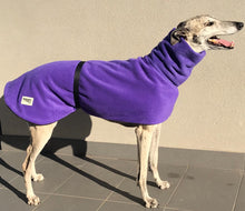 Greyhound Deluxe Dog coat rug purple polar fleece washable extra wide neck hoodie