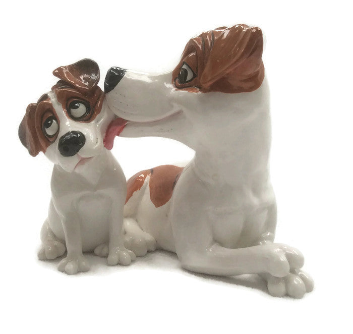 Jack Russel with puppy figurine Statue ornament gift Doorstop,  pets with personality