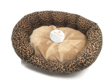 Self warming nuzzle dog Bed Leopard Print