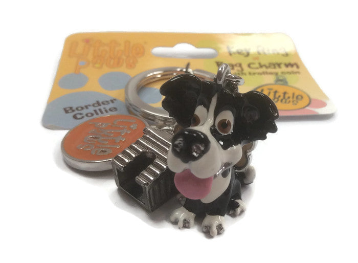 Border Collie dog breed 3D keyring, puppy, pedigree