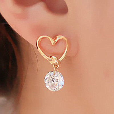 Brinco Pendientes Zircon Heart Stud Earrings