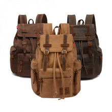 Load image into Gallery viewer, Vintage Casual Canvas Leather Backpack