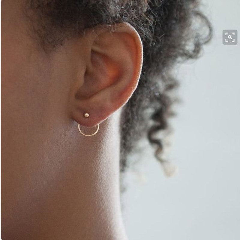 New cute Geometric round metal stud earrings