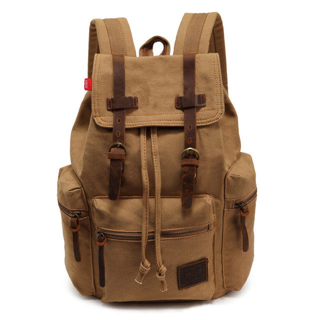 Vintage Casual Canvas Leather Backpack