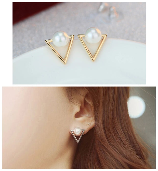 Geometric triangle Simulated pearl stud earrings for women jewelry Bijoux