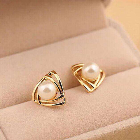 Simulated pearl Earrings Geometric triangle Stud Earrings