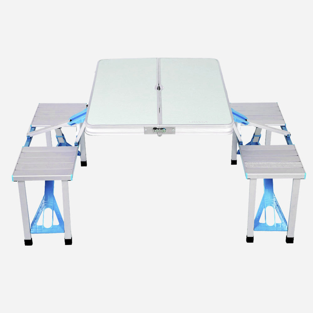 Portable Aluminum Alloy Folding Table Chairs Set for 4 Person
