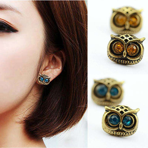 Antique Gold Big Eye Owl Stud Earrings