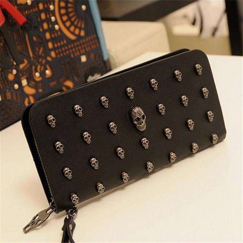 Metal Skull Card Leather Wristlet wallet