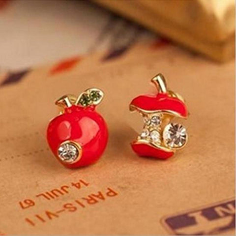lovely red apple crystal stud earrings