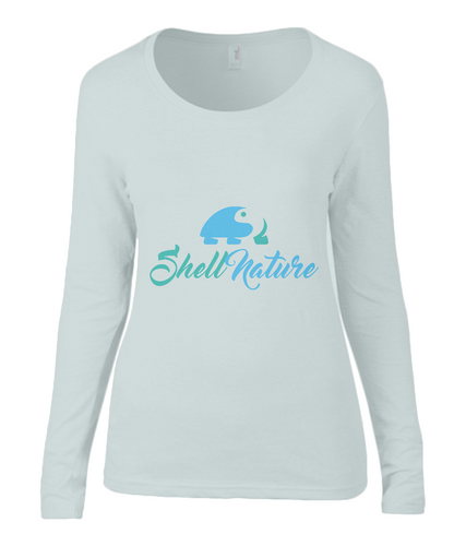 Ladies Shell Nature Original Long Sleeve Scoop Neck Top