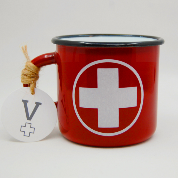 Medical Cross Red Enamel Nurses Mug