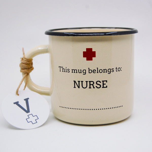 Add-your-name Cream Nurse Enamel Mug