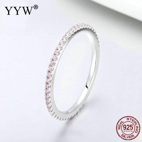 Classic Band Wedding Ring Fashion Real 925 Sterling Silver Finger Rings Pink Crystal For Women Fine Jewelry Accessories