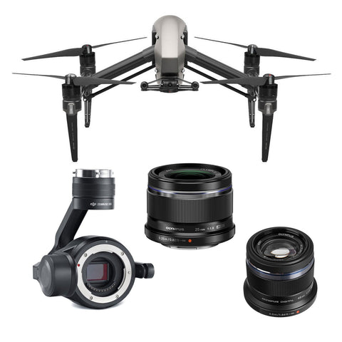 DJI Inspire 2 Cinema Bundle - X5S / Olympus 25mm Lens / Olympus 45mm Lens - DRONECLOTHES