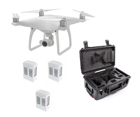 Phantom 4 + 3 Extra Batteries + CasePro Carry-On Sized Hard Case Bundle - DRONECLOTHES