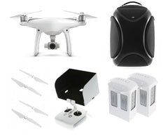 DJI Phantom 4 Quadcopter Bundle - 2 Extra Batteries, 4 Extra Props, Backpack & Tablet Hood - DRONECLOTHES