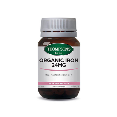 Organic Iron 24mg 30 Tablets - Thompsons