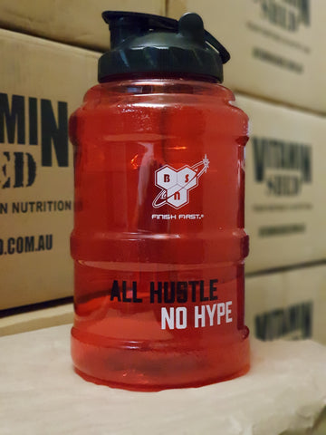"BSN ""ALL HUSTLE NO HYPE"" Water Jug Bottle 2.2L Large Size - Red"