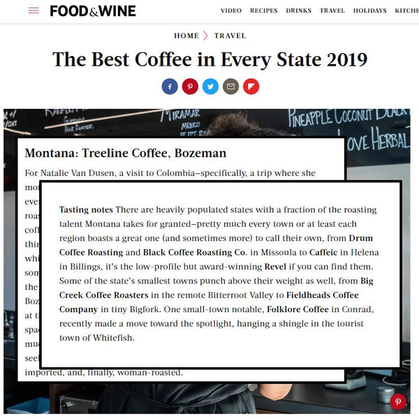 Food & Wine Magazine: The Best Coffee in Every State 2019