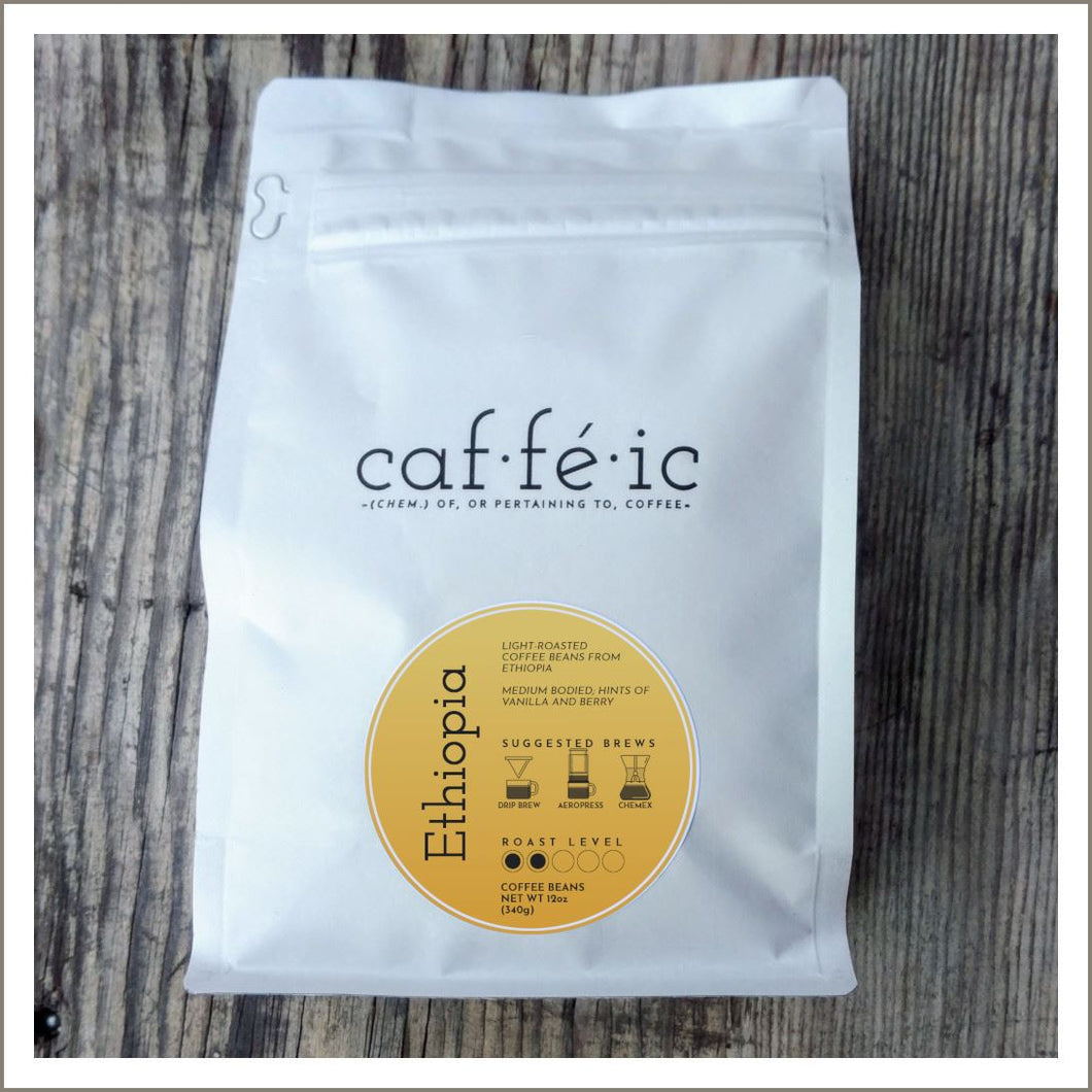 Ethiopia - Single Origin Coffee Beans - 12oz bag - Caffeic Coffee Roastery