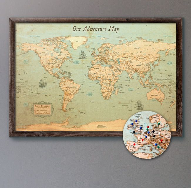 Push pin maps world maps travel maps kr maps large rustic style push pin map gumiabroncs Image collections