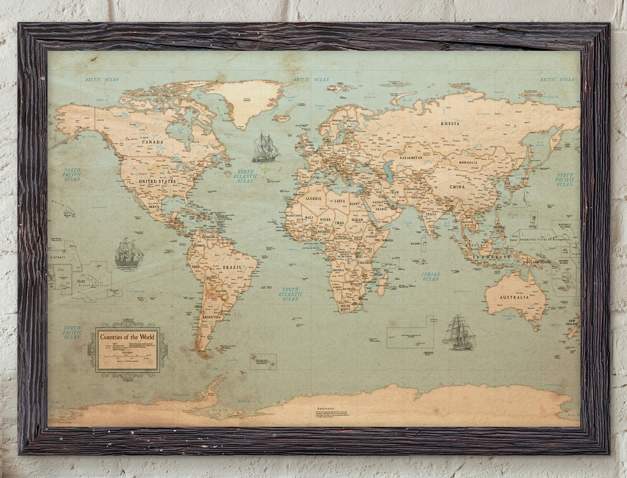 Map posters kr maps world map poster rustic style kr maps gumiabroncs Choice Image