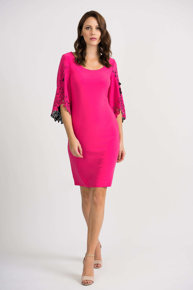 Joseph Ribkoff Pink Dress with Laser Cut Sleeve 201320 (4466551521365)