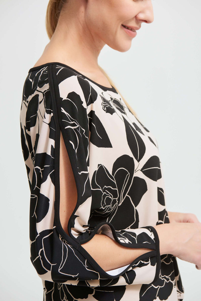 Joseph Ribkoff Floral Top in Black & Sand 213571