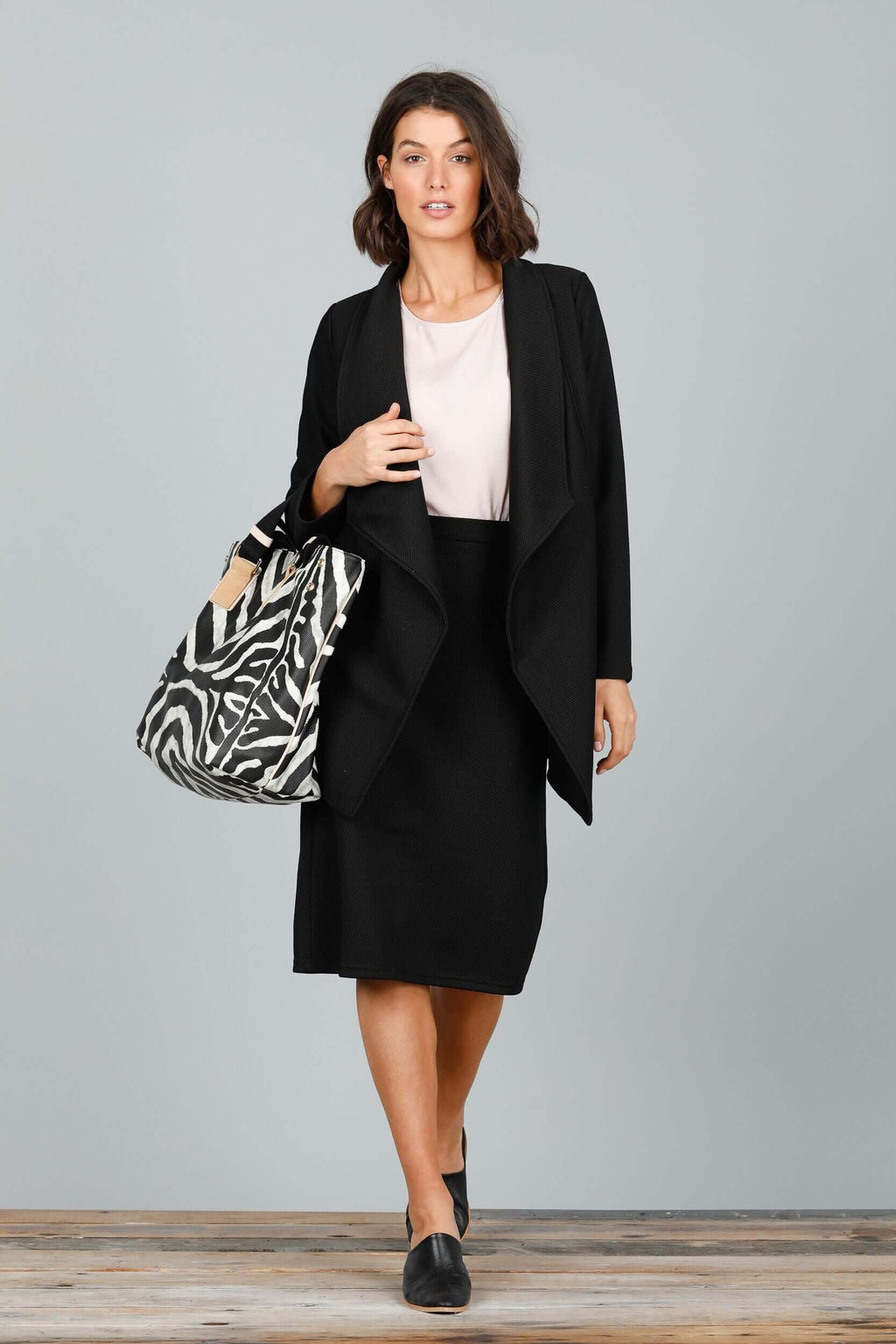 Brave + True 5th Avenue Black Waffle Ponte Skirt BT4600 (4545232896085)